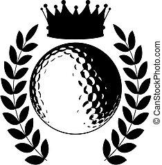 logotipo, pelota, corona, golf