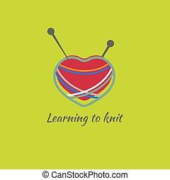 logotipo, pelota, lana, hilo