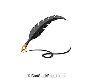 logotipo, pena, vetorial