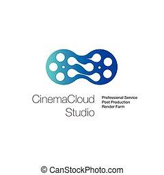 logotipo, per, cinema, nuvola, studio, calcolare