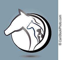 logotipo, perro, caballo, conejo, gato