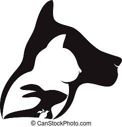 logotipo, perro de caza, conejo, gato