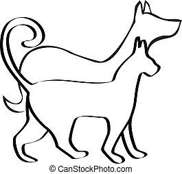 logotipo, perro, gato