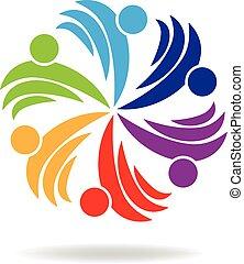 logotipo, personas que tienen manos