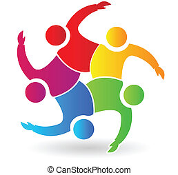 logotipo, persone, 5, abbracciare, lavoro squadra