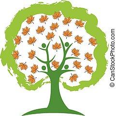 logotipo, persone, albero, stagione