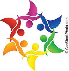 logotipo, persone, collegato, app.