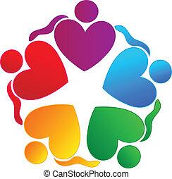 logotipo, persone, lavoro squadra, abbracciare, cuori