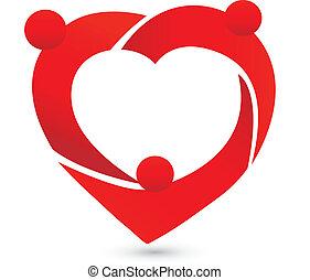 logotipo, persone, lavoro squadra, cuore