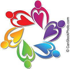 logotipo, persone, lavoro squadra, cuori