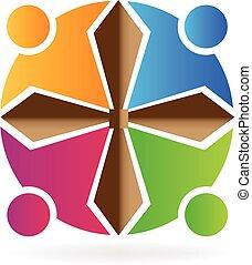 logotipo, persone, lavoro squadra
