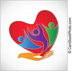 logotipo, persone, mano, cuore