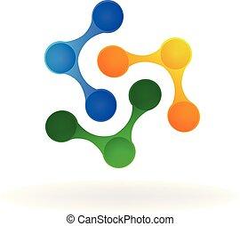 logotipo, persone, tecnologia, affari, lavoro squadra