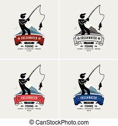 logotipo, pesca, design.