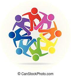 logotipo, pessoas, amizade, comunidade, trabalho equipe