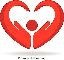 logotipo, pessoas, amor, mão