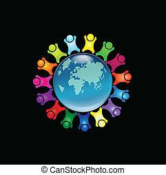 logotipo, pessoas, ao redor, mundo