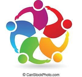 logotipo, pessoas, estrela, trabalho equipe