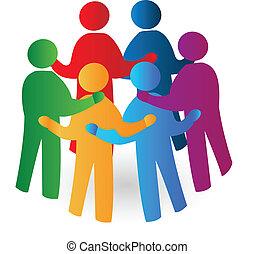 logotipo, pessoas, reunião, trabalho equipe