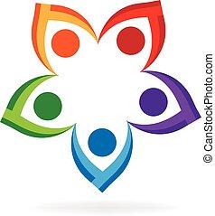 logotipo, pessoas seguram mãos