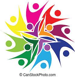 logotipo, pessoas, swooshes