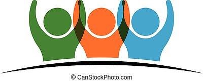 logotipo, pessoas, três, segurar passa