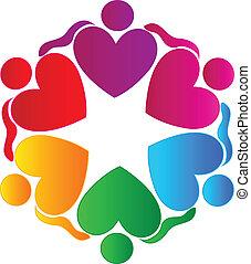 logotipo, pessoas, trabalho equipe, abraçando, corações