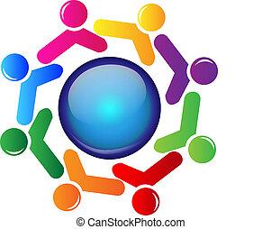 logotipo, pessoas, trabalho equipe, ao redor, mundo
