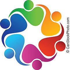 logotipo, pessoas, trabalho equipe, aplicação