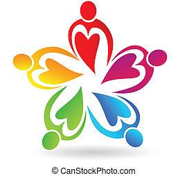 logotipo, pessoas, trabalho equipe, corações