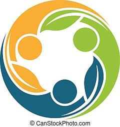 logotipo, pianta, gruppo, persone