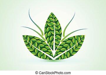 logotipo, pianta, salute, mette foglie, natura
