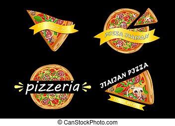 logotipo, pizza, conjunto