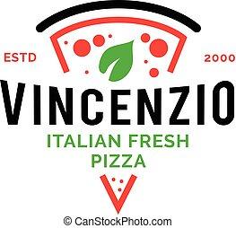 logotipo, pizzeria, italiano