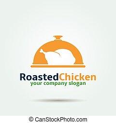 logotipo, pollo, asado