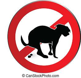logotipo, poop, não, cão, sinal