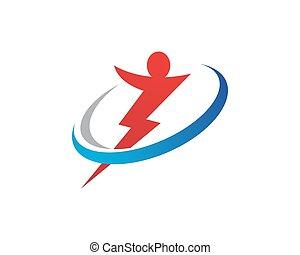 logotipo, potencia, plantilla