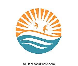 logotipo, praia