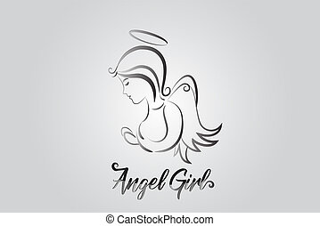 logotipo, pregare, angelo