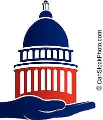 logotipo, presa, campidoglio, illustrazione, mano