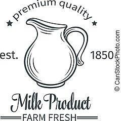 logotipo, prodotto, latte