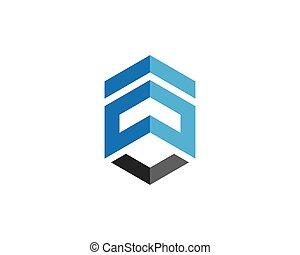 logotipo, propiedad, plantilla