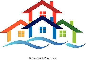 logotipo, propiedad, verdadero, casas