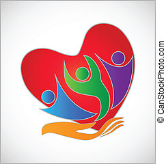 logotipo, protección, mano, corazón