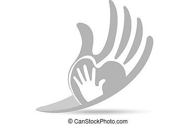 logotipo, protettivo, concetto, amore, mani