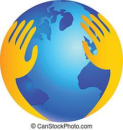 logotipo, protezione, sopra, mondo, mani