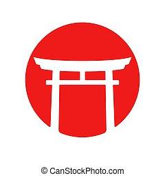 logotipo, puerta de torii, japón