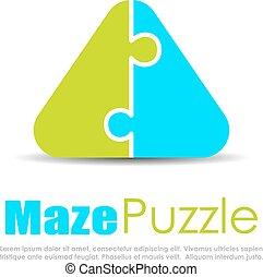 logotipo, puzzle, vettore, astratto