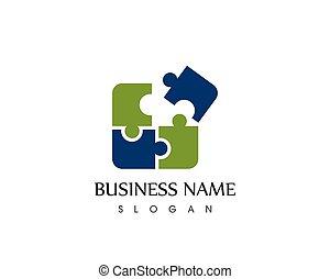 logotipo, puzzle, vettore, icona