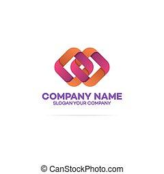logotipo, quadrados, dois, corrente, modelo